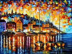 Harbor Of Corsica by Leonid Afremov Handmade oil painting reproduction on canvas for sale,We can offer Framed art,Wall Art,Gallery Wrap and Stretched Canvas,Choose from multiple sizes and frames at discount price. Oil Painting On Canvas, Painting Prints, Canvas Art, Painted Canvas, Painting Wallpaper, Hand Painted, Canvas Size, Art Print, Leonid Afremov Paintings