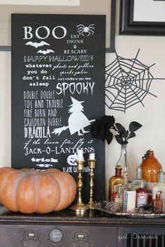 DIY Halloween Chalkboard Sign made with Cricut Explore -- Girl.Inspired. #DesignSpaceStar Round 4