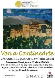 Cartel exposición Mª Jesus Garces. Granada y sus gitanas. Ven a Cantinearte