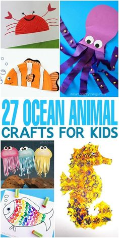 27 ocean animal crafts for kids! From octopus to fish, starfish to crab there are so many great sea creatures! Perfect for a summer or ocean unit with kids! 27 Ocean Animal Crafts for Kids to do at home to help them explore life under the sea. Sea Animal Crafts, Animal Crafts For Kids, Kids Crafts, Art For Kids, Fall Crafts, Sea Creatures Crafts, Creative Crafts, Sea Creatures For Kids, Preschool Animal Crafts