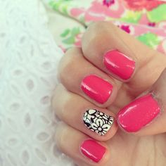 Hot Pink & Single BW Floral Design  #Nails by Macbarbie07