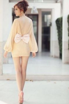WAY! too short but I LOVE the shape of the sleeves and the backless with the huge bow.