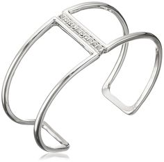 Jessica Simpson Rhodium/Crystal Single Bar Pave Open Cuff Bracelet. Made in China. single bar pave open cuff. Imported.