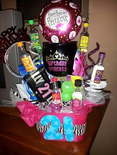 "21st birthday gift for Mir Basket/bucket with:  margarita glass ""Hangover kit"" Shots Shot glasses Bday girl sash"
