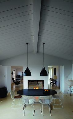 dining space by a fireplace. dream.