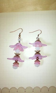 Handmade earrings with pink and lilac flowers, crystals and copper hooks