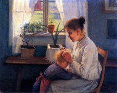 Elin Danielson-Gambogin maalaus Äidin huoli (1891) on suomalaistaiteilijan oma versio hollantilaisen Pieter de Hoochin 1650-luvun laatukuvamaalauksesta, jossa äiti nyppii täitä lapsensa hiuksista.