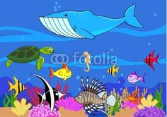 Love this 'Sealife cartoon' for decorating the walls of a boys bedroom with an 'Under the Sea' theme!