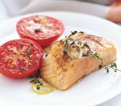 Garlicky Broiled Salmon and Tomatoes - I forgot the garlic when I made this and it was still good!