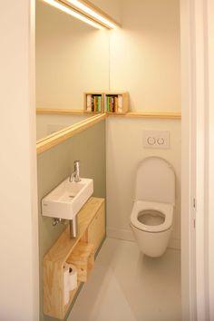 Small Toilet Design, Bathroom Design Small, Bathroom Interior Design, Tiny Bathrooms, Tiny House Bathroom, Laundry In Bathroom, Small Downstairs Toilet, Small Toilet Room, Bathroom Under Stairs