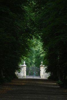 Enchanted road to estate gates Landscape Architecture, Landscape Design, Garden Design, Driveway Entrance, Villa, Ivy House, Entrance Gates, Front Gates, English Countryside