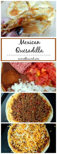 Mexican Quesadilla - A tasty twist on the classic quesadilla, this Mexican Quesadilla is hearty enough for a meal and great for on the go with kids! A quick meal for busy nights full of activities! (Chicken Quesadillas For Kids) Mexican Dishes, Mexican Food Recipes, Beef Recipes, Cooking Recipes, Fast Recipes, Cooking Gadgets, Healthy Recipes, Easy Cooking, Healthy Cooking