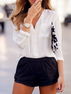 White V Neck With Pocket Chiffon Blouse -SheIn(Sheinside) Mobile Site