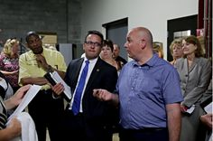 Mike Thompson (right) of the records management department answers a question from Nick Palmer, chief of staff for the Will County Executive. Records Management, Run Out, Paper Trail, Chief Of Staff, Running, Team Leader, Keep Running, Why I Run