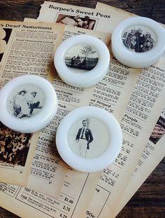 vintage milk glass casters repurposed.