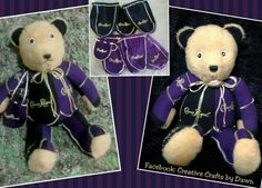 "Keepsake and Memory Bears. I made this bear from Crown Royal bags a few years ago. Gave it a ""face lift"" this week by lowering the eyes and adding a bottom jaw an tognue for an open mouth look. Find me on facebook: Creative Crafts by Dawn or check out my website creativecraftsbydawn.webs.com"