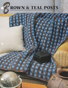 Brown and Teal Posts Annie's Attic Crochet Quilt & Afghan