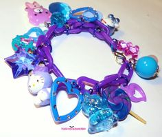 Blue and Purple Kawaii Charm Bracelet by Pinkspiderwebs on Etsy
