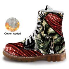 Mid Calf Skull Casual Boots