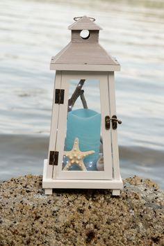 White lantern // beach lantern // white wooden rustic summer lantern with…