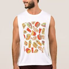 Colorful Pattern illustration nearly Food Tank Top - mens sportswear fitness apparel sports men healthy life