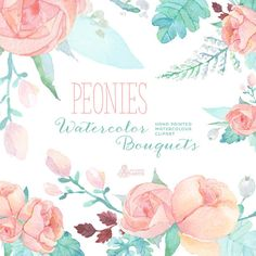 [ Peonies Watercolor Bouquets Digital Clipart Hand Painted Watercolour Peach Peony Wallpaper Patterns And ] - Best Free Home Design Idea & Inspiration Watercolor Succulents, Watercolor Flowers, Watercolor Art, Clipart, Arte Floral, Floral Border, Floral Bouquets, Diy Wedding, Floral Wedding
