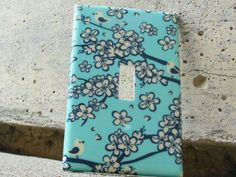 Birds and Cherry Blossom Turquoise and Cream Light Switch Plate Cover