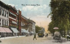 Main Street on the Square | Postcard | Wisconsin Historical Society