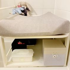 DIY changing table for the bathroom. Perfect for small places.