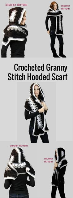 This is my simple quick pixie hooded scarf pattern. A great pattern for beginning crocheters who want to crochet something fun, easy and whimsical. Hooded Scarf Pattern, Super Easy Crochet Granny Square Hooded Scarf PATTERN