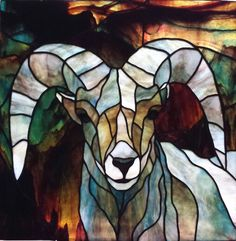 Bighorn sheep in stained glass,  by Michelle Carlson rockledgeglassdesign.com
