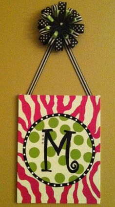 Pink Zebra Monogram CanvasSwitch up colors, add one for each initial