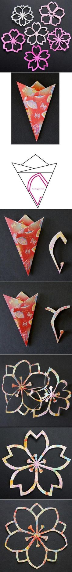 DIY Flower Paper Cutting...there are no directions for how to fold the paper, but the flowers sure are pretty!