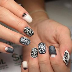 Autumn nails with a pattern, Beautiful nails 2016, Beige half moon nails, Black pattern nails, Evening nails, Exquisite nails, Glitter nails, Half moon patterned nails