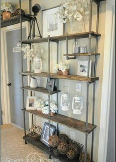 CHEAP industrial-style shelf by using PVC instead of metal! Get the tutorial from on Build a CHEAP industrial-style shelf by using PVC instead of metal! Get the tutorial from on Cheap Home Decor, Diy Home Decor, Room Decor, Living Room Shelf Decor, Living Room Shelving, Diy Casa, Industrial House, Industrial Furniture, Vintage Industrial