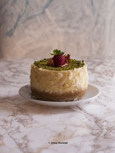 Baked minicheesecake with mascarpone and pistachio