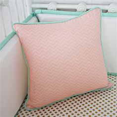 @Rosenberry Rooms is offering $20 OFF your purchase! Share the news and save!  Mint & Coral Chevron Square Throw Pillow #rosenberryrooms