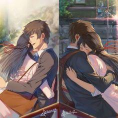 Kimi no na wa Sad Anime, Kawaii Anime, Manga Anime, Anime Love Couple, Cute Anime Couples, Fanarts Anime, Anime Films, Mitsuha And Taki, Kimi No Na Wa Wallpaper