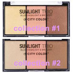 City Color Cosmetics Sunlight Trio Cheek Highlight Bronzer Blush #CityColor