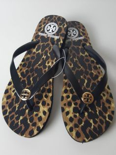 c478c46dca39 TORY BURCH Leopard Flip Flop Sandals Black Gold Logo Size 9 NEW