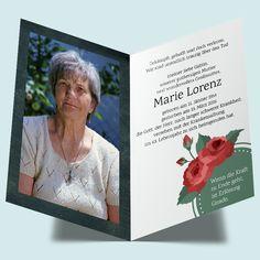 Trauerdrucksachen online bestellen: Sterbebild Vintage Rose