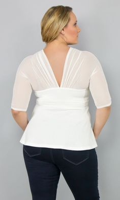 Curvalicious Clothes :: Plus Size Tops :: Pretty Peplum Mesh Top