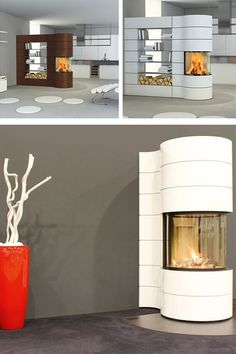 Rotatable Built-in Spartherm Magic Wood Burning Fireplace.