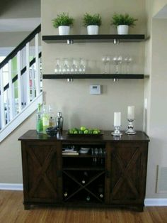 Wine/Liquor storage area in dining room.
