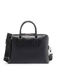 Barrow+Grained+Leather+Briefcase,+Black+by+Burberry+at+Neiman+Marcus.