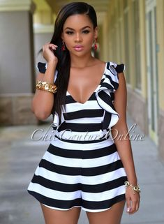 Halle Black White Stripes Ruffle Silky Romper