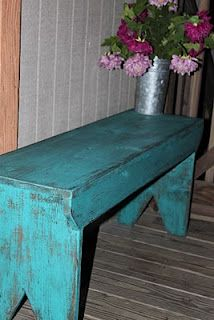 Woodworking Bench benches :) love the paint and the hydrangeas in (my sap bucket) Rustic Furniture, Painted Furniture, Diy Furniture, Rustic Bench, Rustic Decor, Furniture Projects, Home Projects, Painted Benches, Woodworking Bench