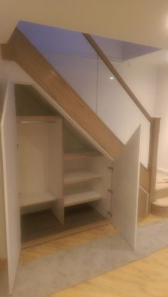 Oak and glass staircase refurb with new under stairs storage Understairs Storage Glass Oak refurb Staircase stairs storage Closet Under Stairs, Space Under Stairs, Under Stairs Cupboard, Hall Closet, Basement Stairs, House Stairs, Closet Doors, Under Staircase Ideas, Basement Closet