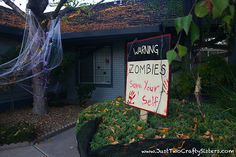 DIY simple and easy zombie attack halloween decor ideas for your front yard. Zombie Attack, Diy Halloween Decorations, Sisters, Yard, Crafty, Courtyards, Garden, Court Yard, Sister Quotes