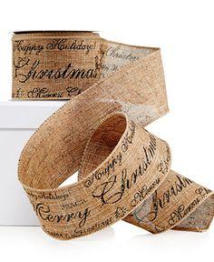 Holiday Lane Type Script Ribbon Decoration - Christmas Decorations - Holiday Lane